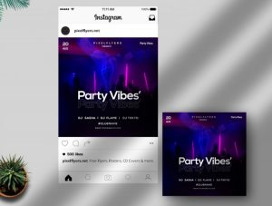 Party & Vibes Free PSD Instagram Template