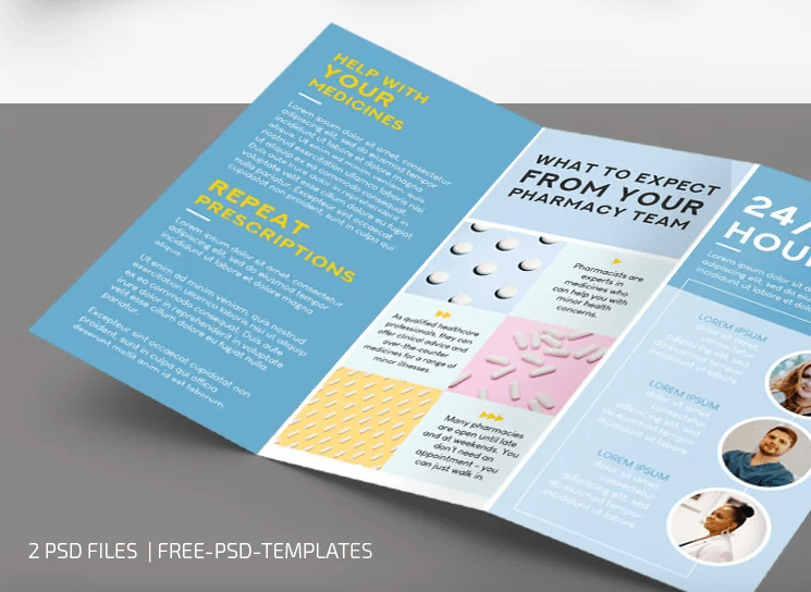 Pharmacy Brochure Tri-Fold PSD Free Template