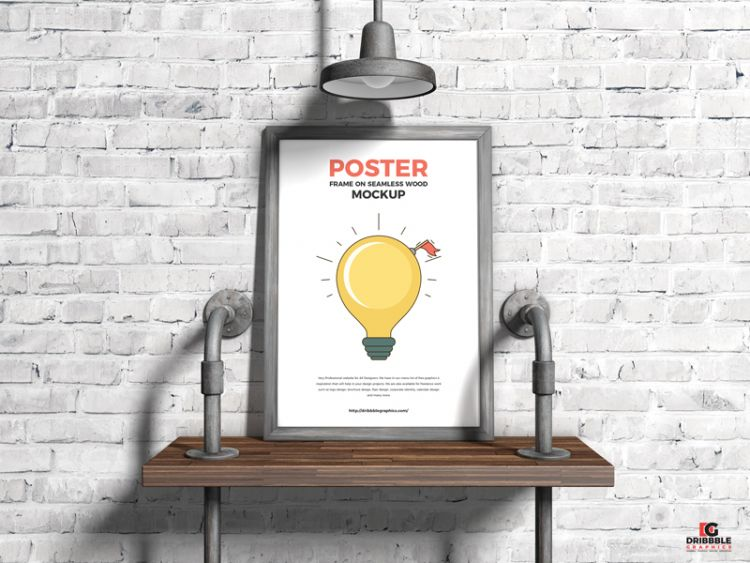 Poster Frame on Seamless Wood Free Mockup