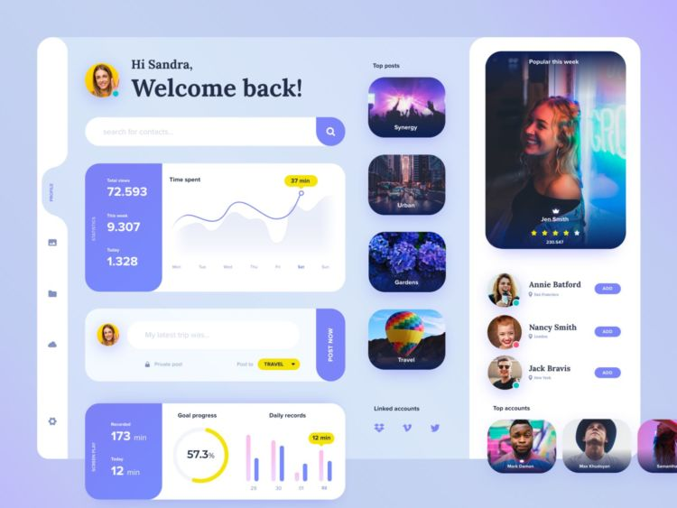 Profile Dashboard Free XD UI kit
