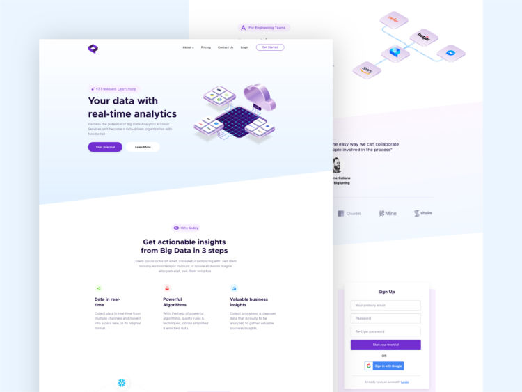 Qubly - Free Analytics XD Website Template