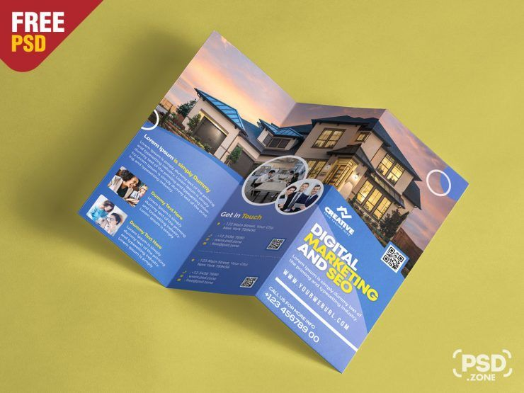 Real Estate Tri-Fold Free PSD Brochure Template