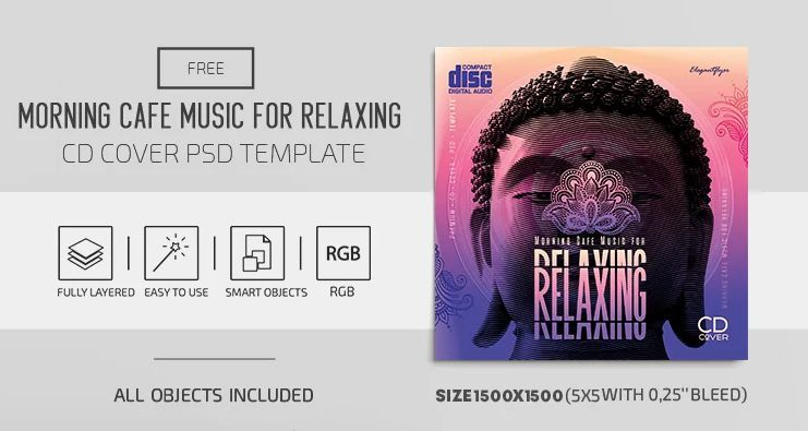 Relaxing Music Free Mixtape Cover PSD