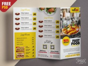 Restaurant Menu PSD Tri Fold Free Brochure Template