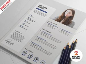 Clean Resume CV Free PSD Template