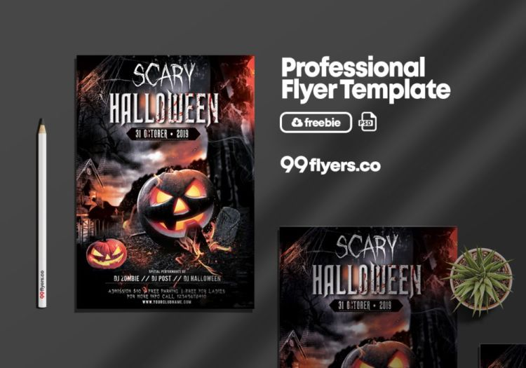 Scary Halloween Event Free PSD Flyer Template