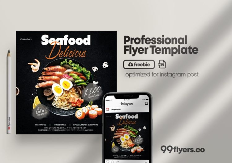 Seafood - Online Delivery Free PSD Flyer Template
