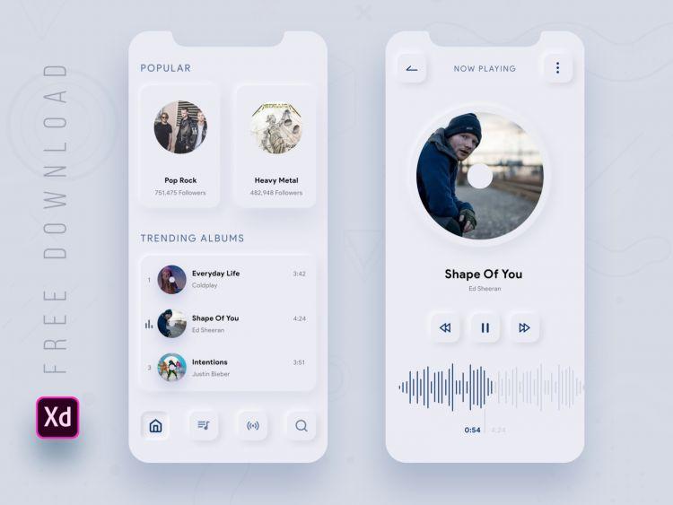 Skeuomorphic Music App Free UI Kit