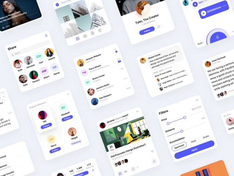 Social App Design Free UI Kit