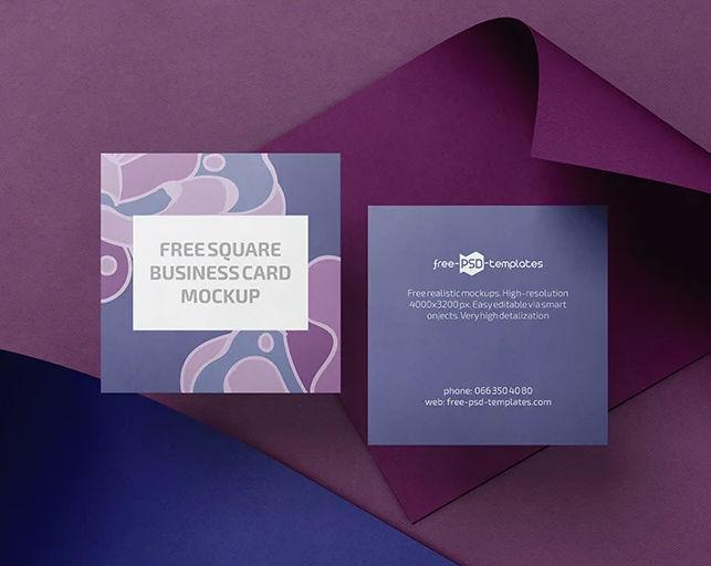 Square Business Card Free Mockups Set