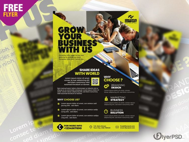 Success Marketing PSD Free Business Flyer Template