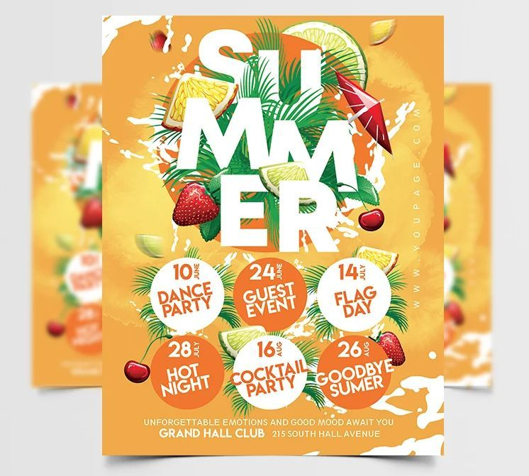 Summer Fruits Party Free PSD Flyer Template