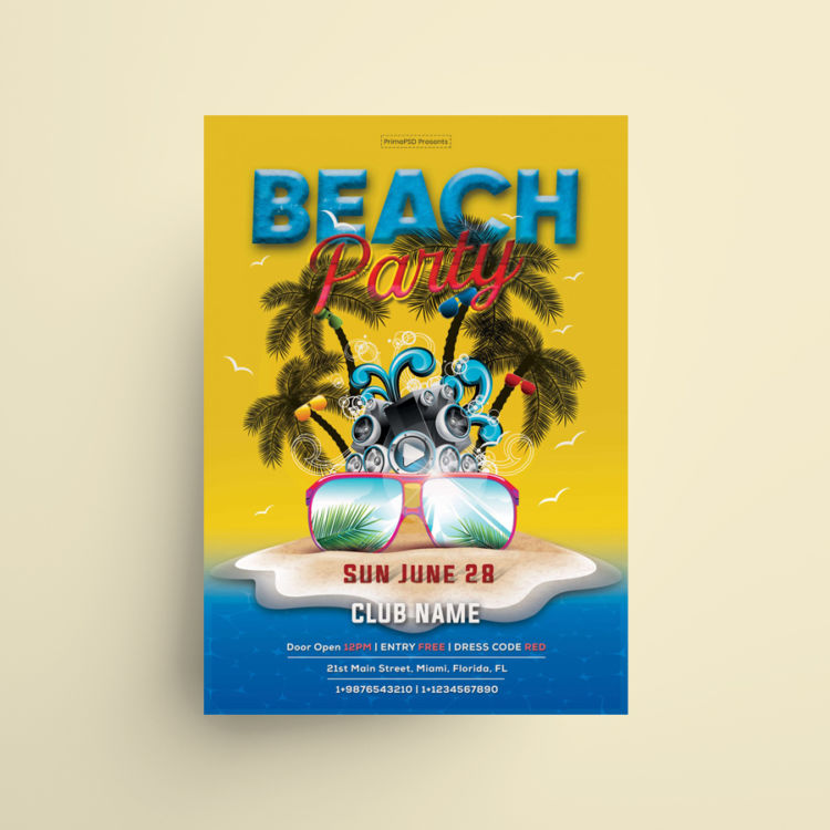 Summer Party Free Beach Flyer PSD Template