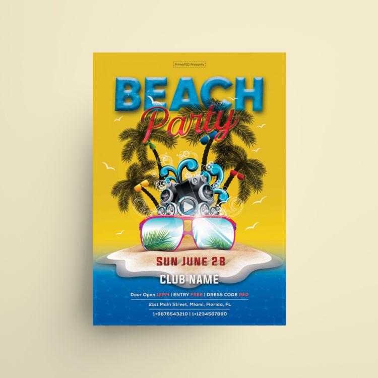 Summer Party Free Beach Flyer PSD Template