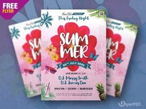 Summer Party – Free Floral PSD Flyer Template