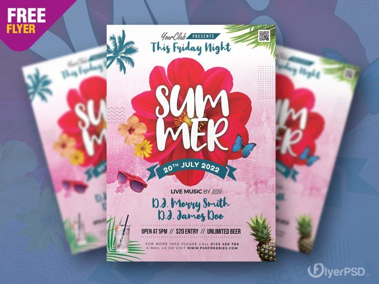 Summer Party - Free Floral PSD Flyer Template
