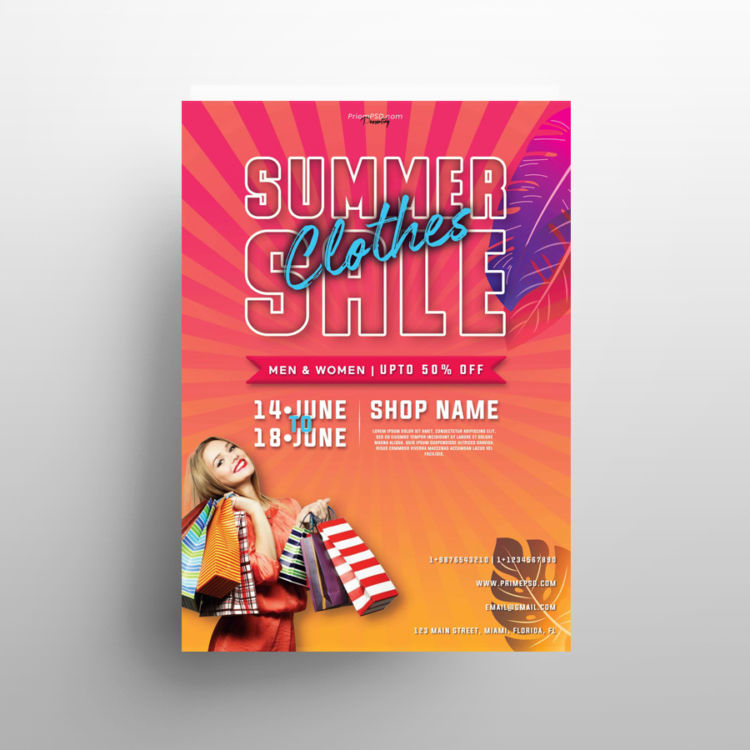 Summer Sale PSD Freebie Flyer Template