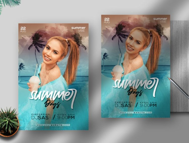 Summer Vibe Free Event PSD Flyer Template