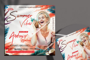 Summer Vibes Event Flyer Free PSD Template