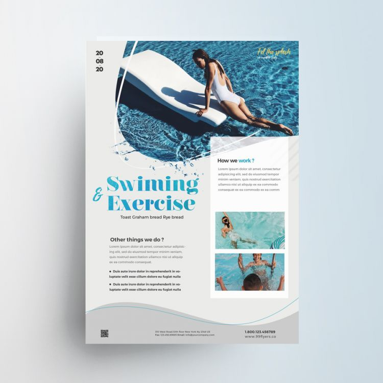 Swimming Sport Free PSD Flyer Template