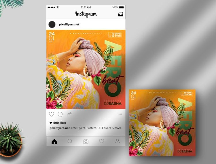 The Afro Beat - Free Instagram PSD Post