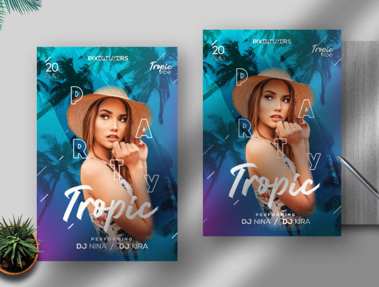Tropical Festival Free Summer PSD Flyer Template