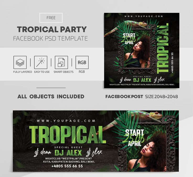 Tropical Party Free Facebook Cover PSD Templates