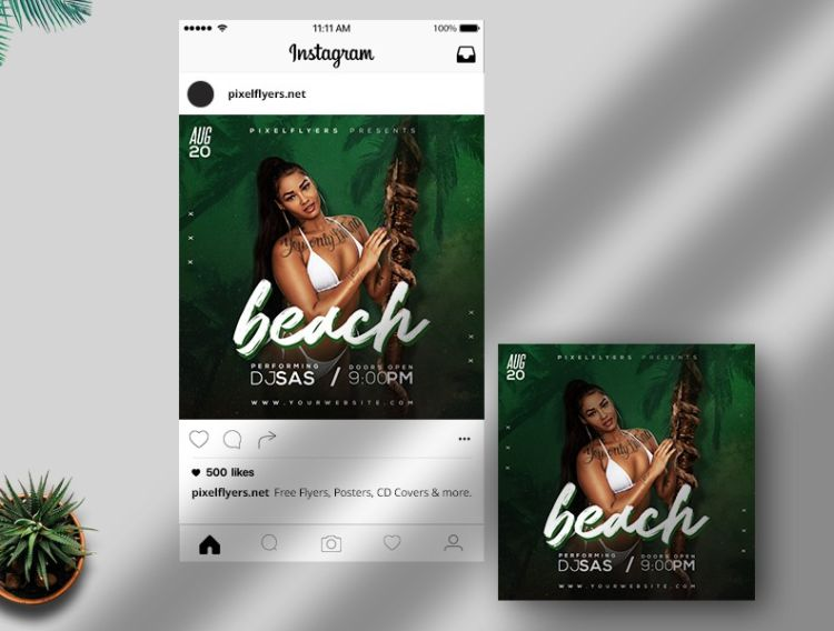 Tropical Party Free Instagram PSD Banner
