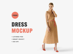 Women with Dress Free Mockup
