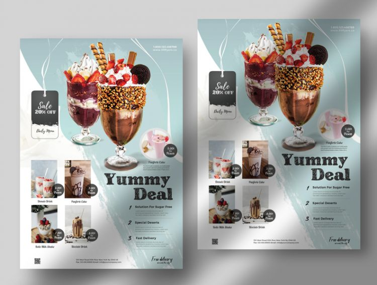 Yummy Deal - Free Drink Shake Flyer Template PSD