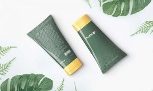 2 Cosmetics Cream Tubes Free Mockup