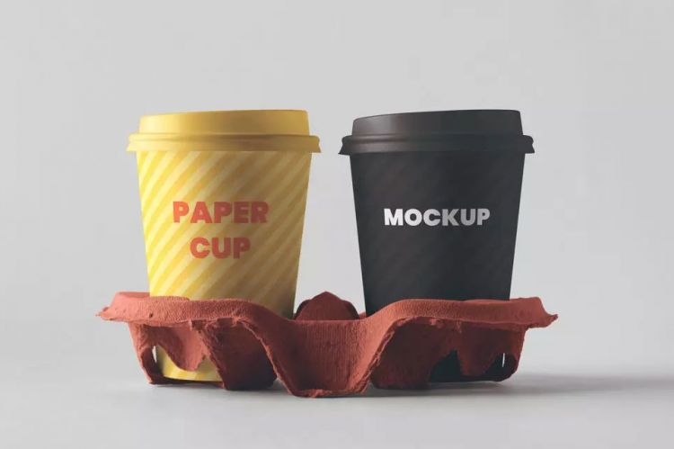 2 Paper Coffee Cups With Holder Free Mockup