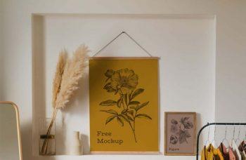3 Interior Poster Frames Mockup (PSD)