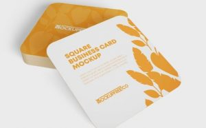 3 Square Business Card Free Mockup