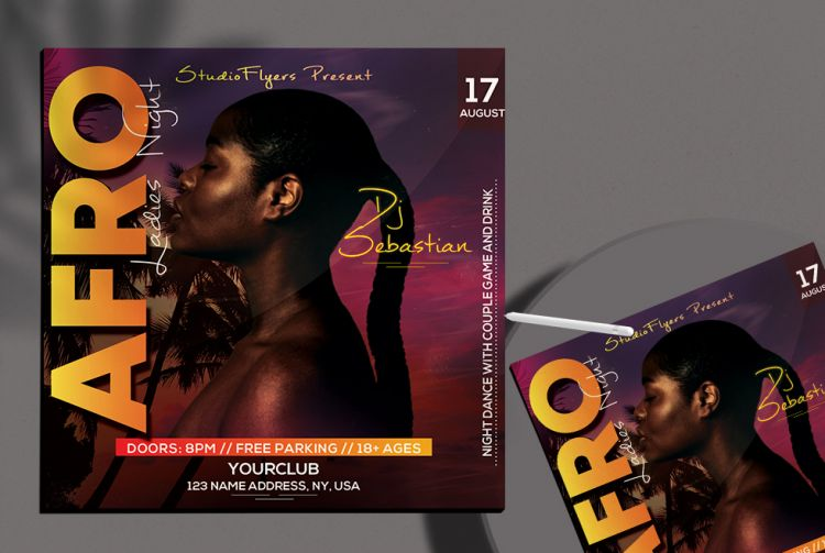 Afro Event Freebie Party Flyer Template (PSD)