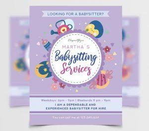 Babysitting Free PSD Flyer Template
