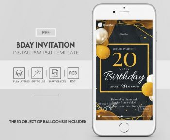 Birthday Invitation Free Instagram PSD Template