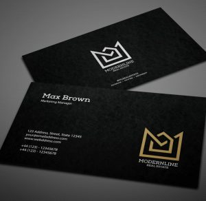 Black Modern Free Business Card (PSD)