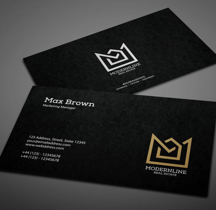 Black Modern Free Business Card (PSD)