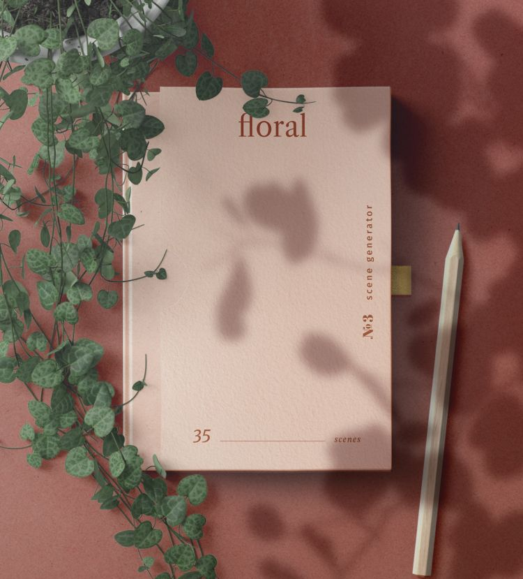 Book Cover with Floral Scene Free Mockup