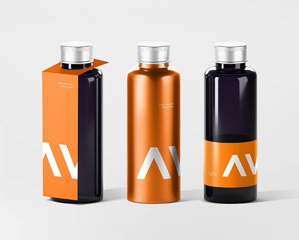 Bottle With Tag Free Mockup