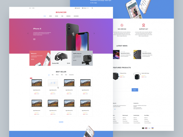 Bouncer - Free eCommerce Web UI Kit Adobe XD