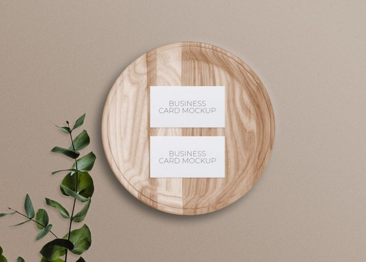 Business Cards on Wooden Plate Free Mockup