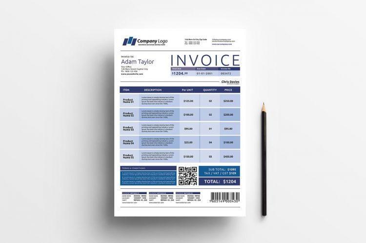Business Free Invoice Template (PSD & AI)