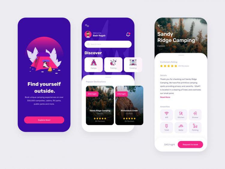 Camping App Design Free UI