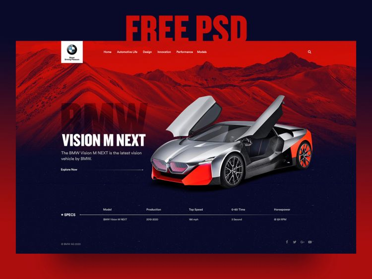 Car Landing Page Free PSD Web Template