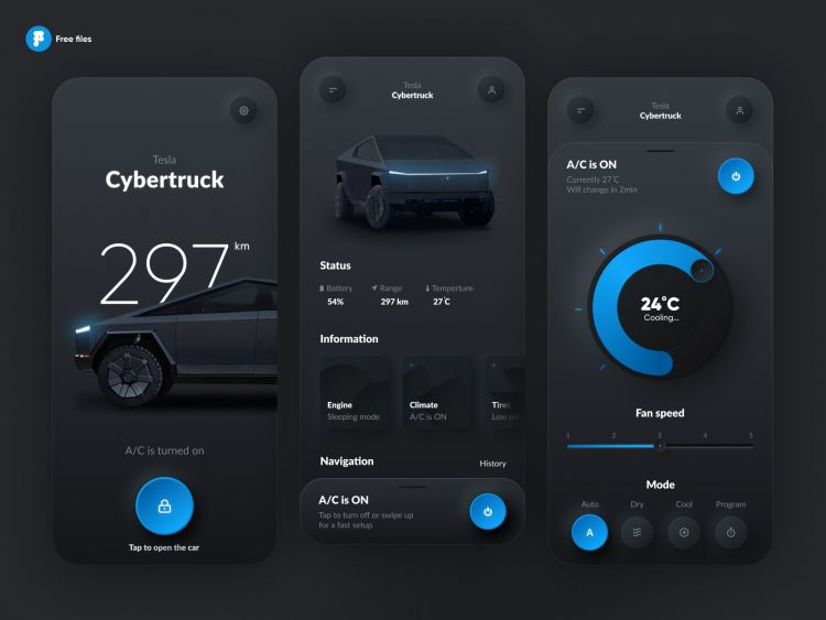 Car Setup App Concept Free UI Kit
