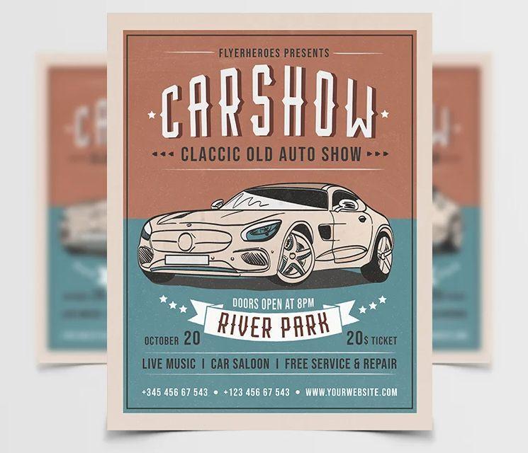 Car Show Free Retro PSD Flyer Template