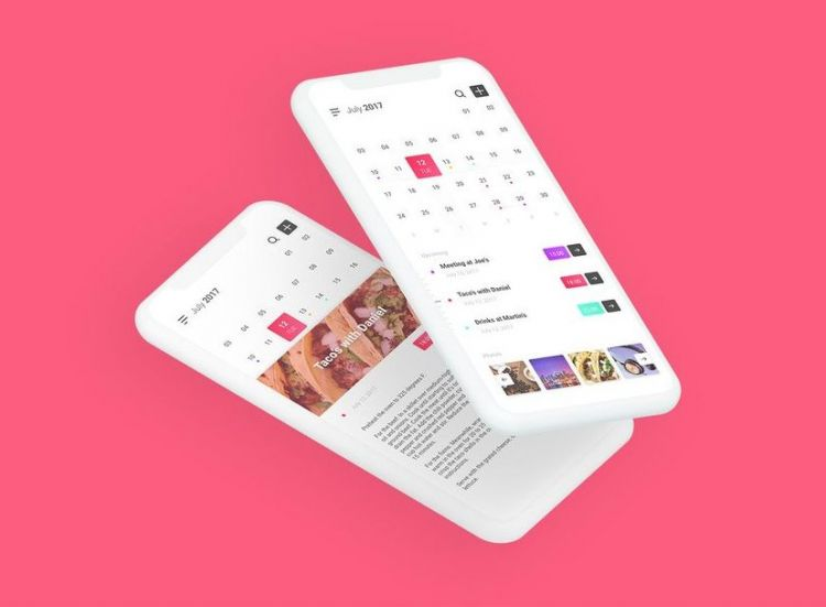 Clean Calendar UI Kit Free Adobe XD