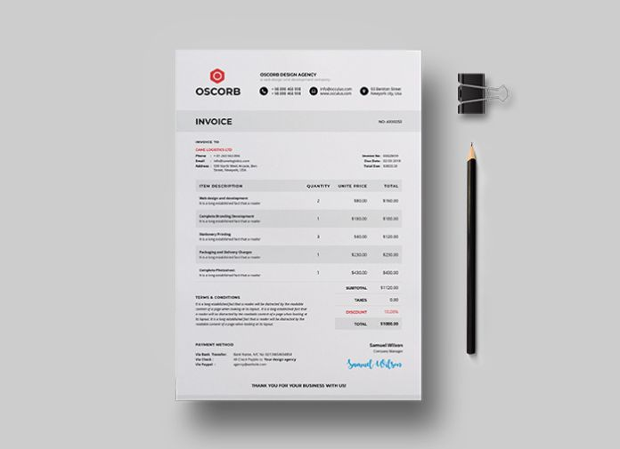 Clean Invoice and Letterhead Free Template